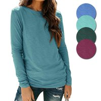 Women's T-Shirt Solid Color Fashion Casual Round Neck Long Sleeve Spring Autumn Tops Soft Comfortable S-2XL Female Clothing