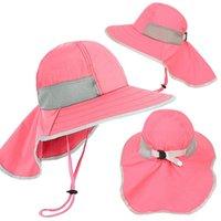 Sombreros anchos sombreros niños sombrero de verano niñas niñas sol sol con cuello solapa protección uv protección safari bebé niño viaje casquillo 2-12 años