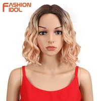 Synthetic Wigs FASHION IDOL 12Inch Wig Cosplay Short Bob Lace Ombre Blonde Pink Heat Resistant Wavy Hair For Women