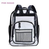 Рюкзак розовый sugao pvc рюкзаки ясных путешествий школа bookbag ноутбук выходной мешок водонепроницаемый