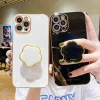 2021 Luxury Glitter Soft Silicone Mobile Phone Cases With Flowers Mirror Holder for iPhone 13 12 11 Pro 7 8 Plus X XR XS Max Dirt-resistant Fashion Cover Case