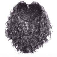 Grau gemischter schwarzer brasilianischer Nagelhaut ausgerichtet Remy Haare lockige Frauen menschliche Haarverschluss - ToppPer Haarteilmaschine machte 120g mittlere Dichte