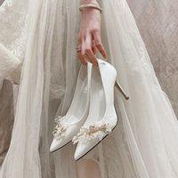 Luxury Dress Shoes French 2021 Pearl Bridmaid Bride Main Wedding Drs Thin Heel White High Heels Large Single Sho