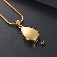 Кулон ожерелья KSJ12729 гравируемый мини-слеза ожерелье из ожерелья, золото, розовый, черный тон домашнее животное / для кремации Ювелирные изделия для удержания золы