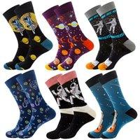 6 Pairs 6 Color Combination Animal Fruit Hip Hop Socks Men Cotton Food Geometry Pattern Men Socks Cartoon Gifts for Men EUR38-46