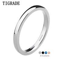 Cluster Ringe Tigrade High Polished Dünne Mann Frauen Titan Ring Blau Schwarz Silber Farbe Hochzeit Engagement Band Bague Weibliche Schmuck