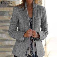 Women's Suits & Blazers Elegant Solid Coats Women Autumn Wool Blend Blazer ZANZEA Casual Long Sleeve Outwears Female Single Button Overcoats