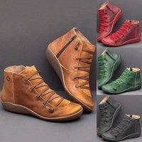 Лазарровавая зимняя обувь женщина 2019 удобные повседневные плоские ботинки Femme кожаные ботинки для зимой осень голеностопные zip женские сапоги черный Ankl P2RL #