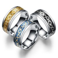 Stainless Steel mechanical Gear ring band finger Gold blue rings men women fashion jewelry