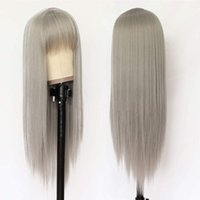 Synthetic Wigs Brown Blonde Wig With Bangs Long Straight Grey Black For Women Natural Heat Resistant Daily Party Cosplay