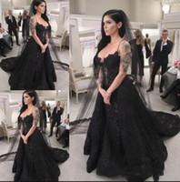 Robes de mariée noires complètes longues 2021 robe gothique de robe de mariée dentelle robe de mariée à la main