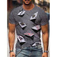 카드 놀이 남자의 3D 프린트 티셔츠 그래픽 컬렉션 짧은 소매 파티 탑 스트리트 펑크와 고딕 크루 넥 여름