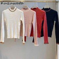 Kuzuwata осень полусолютный воротник сладкие топы простые все матч Slim Fit Pareped Packread Pullovers Новые вязаные женщины свитера