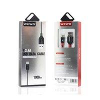 Örgü Şarj Wewo USB Mikro Toptan Kablo Telefonları Kablo Kırmızı Siyah Güvenli Telefon Kabloları için Metre Paketi 1 ile 2.4A QRGRK