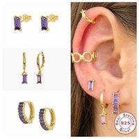Hoop & Huggie 100% S925 Sterling Silver Pendientes Micro Pave Romantic Purple Crystal Earrings Earring For Women Girl Gifts Fine Jewerly