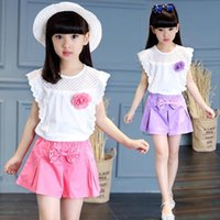 Childrens Wear And Girls Summer Set Short Sleeves Big Fashion Sports Two Piece Suit