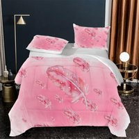 Bedding Sets Pink Theme Bedroom Feather Fancy Print 2 3 Quilt Cover 200x200 Multi-Size Family Girl Set Without Bed Linen