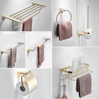Bath Accessory Set Bathroom Towel Rack Golden Light Luxury Stainless Steel Shelf Bar Hardware Pendant
