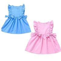 2021 Sommer Gilrs Prinzen Kleid Säuglinge Kleinkind Rüschen Kurzarme Ärmellose Kleider Niedlich mit Seite Bögen Baby Party Rock H23IJY0