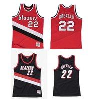مخصص مخيط كرة السلة الفانيلة الرجال النساء الشباب S-6XL 22 clyde drexler جيرسي ميتشل نيس 1983-84 91-92 الصلب الكلاسيكية ارتداء الرجعية