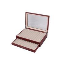 Caja de almacenamiento de pantalla de pluma de madera negro / Borgoña, capacidad de 23 plumas, caja de organizador de colector de pluma de fuente con tra Jllygry jhhome