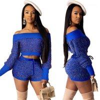 2 pezzi set1 autunno donne vestito stile maniche lunghe maniche off-spalle paillettes coltura cuoio con cordoncino pantaloni da maglieria da maglieria da donna 2021