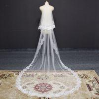 Fotos reais 2 T Long Lace Wedding Veil com Blusher Catedral Nupcial Véu com pente 3 metros 2 níveis branco marfim macio tule véu
