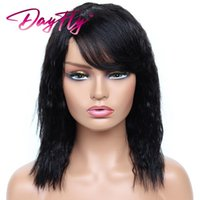 Hair Bulks Raw Kinky Straight For Women 100% Human Natural Color With Bangs 150% Full Machine Made