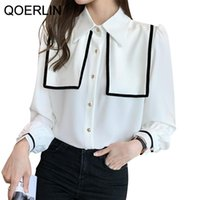 Women's Blouses & Shirts QOERLIN Blouse With Lush Sleeves Button-Down Top Elegant Long Sleeve Office 2021 Plus Size White