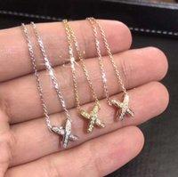 Clássico Marca Jóias Cross Pingente 925 Sterling SilverRose Gold Preenchimento Pave Micro Branco Sapphire CZ Diamante Eternidade Amor Amor Mulheres Casamento Clavícula Colar Presente