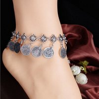 Womens Tribal étnica moeda tassel cigano festival turco praia anklet jóias anklets metal moedas tassel anklet b3yb #