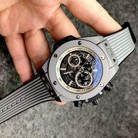 7-4men Relógio Analógico 40mm Movimento de Quartzo Data Calendário All Discagem de Couro Strap Orologio Uomo Luxo Montre de Luxe Designer Relógios