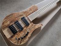 Envío gratis Imperial 5 cuerdas Bajo Guitarra, Chapa de arce Spalted, 24 trastes, Botón negro, Fingerboar de arce