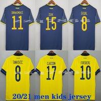 2021 Suecia National Team Ibrahimovic Forsberg Jerseys de fútbol Larsson Ekdal Isak Home Weew Football Shirts