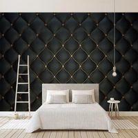 Murales de pared personalizados 3D Black Black Bolso suave Bolsa de cuero Foto de archivo para sala de estar Dormitorio TV Fondo de pared Decoración de la casa Mural