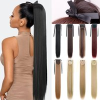 Synthetic Wigs MERISIHAIR 85cm Long Straight Ponytail Wine Red Blonde Pony Tail Hair Heat Resistant Horsetail Hairpiece