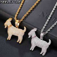 Pendant Necklaces Hip Hop Iced Out Cubic Zircon Bling CZ Goat Pendants & For Men Jewelry With Tennis Chain