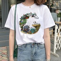 Mode totoro temperament feder cartoon frauen t shirt miyazaki hayao anime drucken kurze hülse japanische cartoon tops tees weiblich