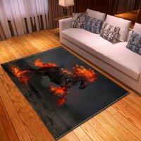 Ковры Современный мультфильм коврик для пола пламя лошади узор 3D напечатано для гостиной спальня декор ковров детская игра