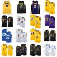 6 23 Kyle 0 Kuzma Mens Anthony 3 Davis Jaune Violet Ville Blanche Basketball Jersey S-XXL