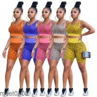 women tracksuit Leopard Outfit print yoga sports suit female summer style bra high waist boxer casual two-piece set meet0808