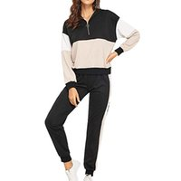 Women's Tracksuits FashionSets Female Vintage Pink Contrast Color Baseball Bomber Pullover Jacket Women Top And Pencil Jogging Pant Suit 2 P
