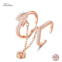 Cluster Rings KALETINE 925 Sterling Silver Love Set For Women With CZ Pendant Chain Rose Gold Heart Wedding Sets Jewelry Bridal