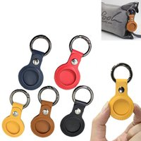 Colorful Leather Keychains Party Favor Anti-lost Airtag Protector Bag All-inclusive keychain locator Individually Packaged Small Gift FHL363-WY1536