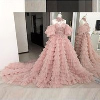 Dusty Pink Prom Dresses Long Off The Shoulder Tiered Tulle Sheer Neck Evening Dress Long Train Tiered Puffy Cocktail Party Gowns