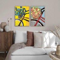 Chenistory 2 PC Paint by Numbers Flower In Basket Bici Pittura a olio dipinta a mano fai da te incorniciato su tela Home Soggiorno Decor Art