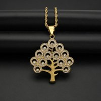 Iced Out Gold Color Life tree Necklace Pendant With Chain Stainless Steel CZ Zircon Bling Men Women Hip Hop Jewelry