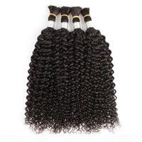 4pcs hair bulks natural color straight jerry curly Indian human hair no weft curly hair bulk for braiding