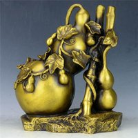 Chinesische Seiko Carving Pure Messing Bambus-Gourd-Statue