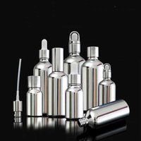 Wholesale Silver Color Glass Empty Perfume Spray Bottles Essential Oil Dropper Bottle Face Cream Jars for Travel Cosmetic Liquid